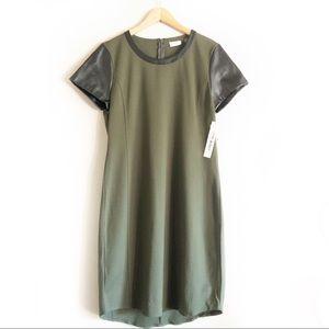 NWT Sheath Dress   NWT DKNY Olive w Faux Leather